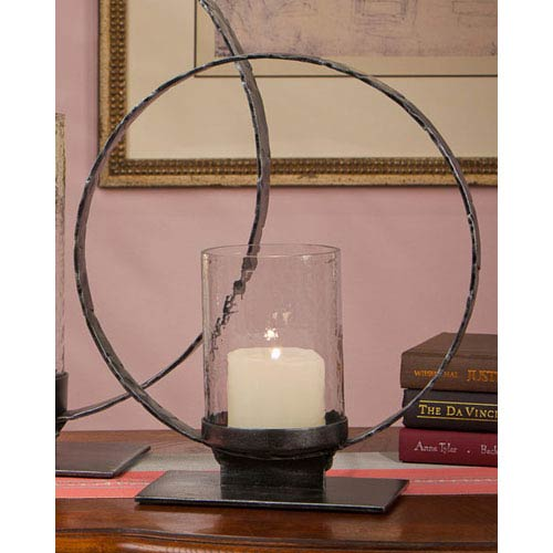 Pewter Iron Circle Hurricane - 19.25 Inches Tall