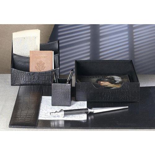 Black Leather Crock Embossed Desk Blotter - Only Blotter