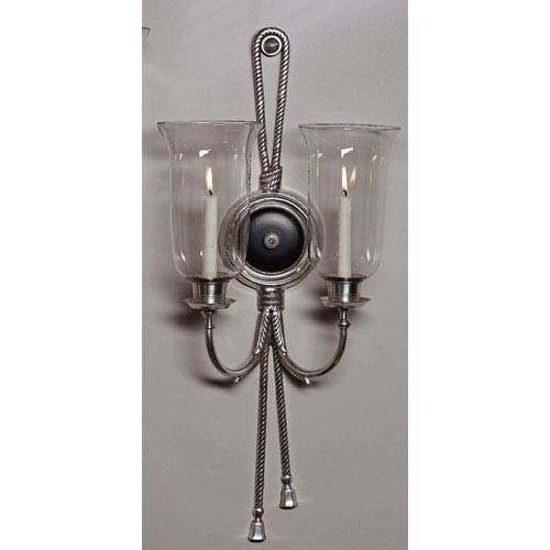 Antique Silver and Black Two-Light Hurricane Candle Sconce