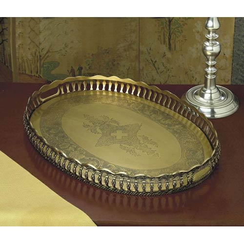 Antique Brass Oval Gallery Tray