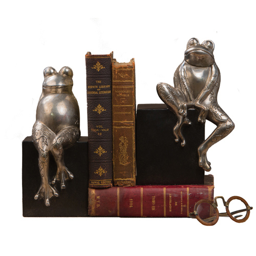 Antique Silver Frogs on Black Base Bookend