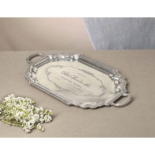 Antique Silver Etched French Tray with Handles