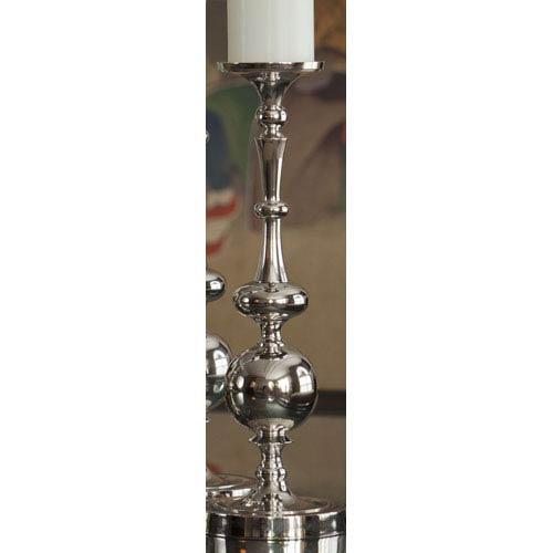 Nickel Pillar Ball Candleholder - 15.5 Inches Tall