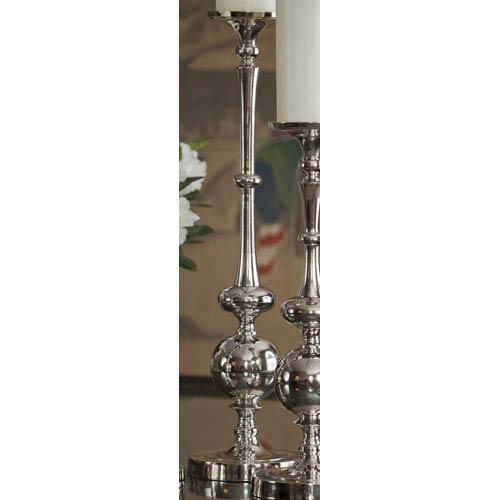 Nickel Pillar Ball Candleholder - 20.25 Inches Tall