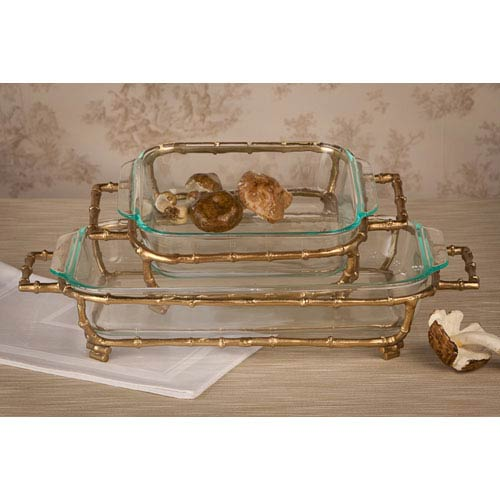 Gold Bamboo Large Rectangular Pyrex Holder