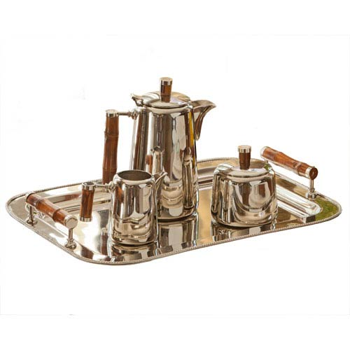 Nickel Tea Set with Bamboo Handles