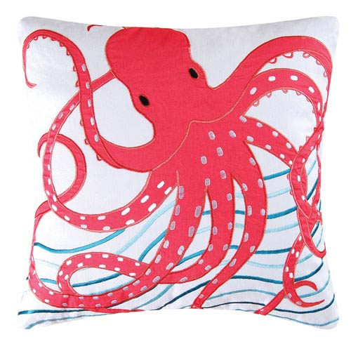 Tropic Escape Pink Octopus 18-Inch Decorative Pillow