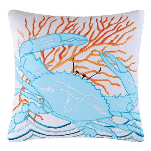 Tropic Escape Blue Crab 18-Inch Decorative Pillow