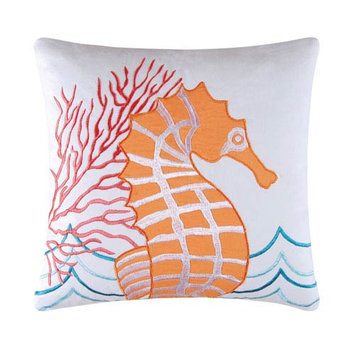 Tropic Escape Orange Seahorse 18-Inch Decorative Pillow