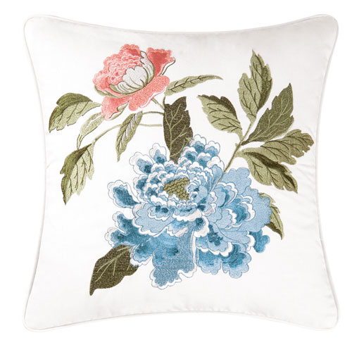 Marianne Soft Aqua and Coral 18 In. Pillow