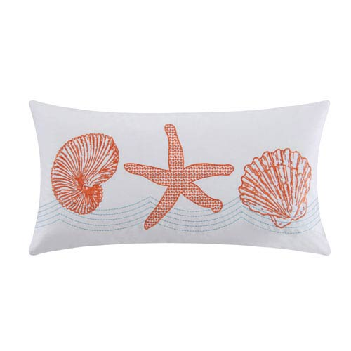 Cora White and Coral 12 x 24-Inch Decorative Pillow