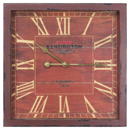 Red and Pink 16-Inch Wall Clock with Distressed Wooden Frame