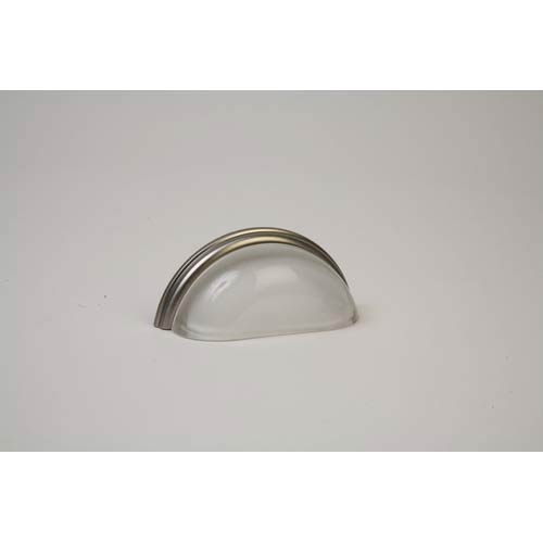 Brushed Nickel 3.75-Inch Frosted Clear Pull