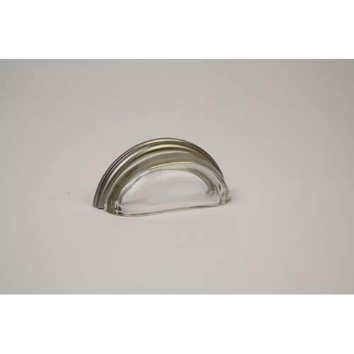 Brushed Nickel 3.625-Inch Transparent Clear Pull