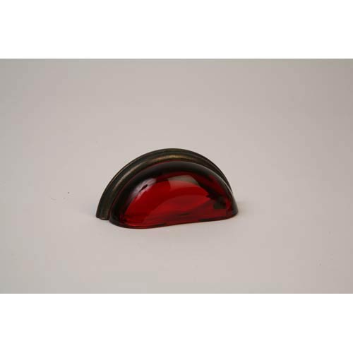 Oil Rubbed Bronze 3.75-Inch Transparent Ruby Red Pull