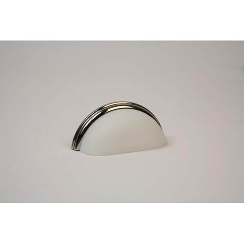 Polished Nickel 3.75-Inch Frosted White Pull