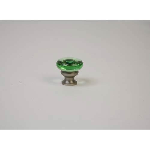 Brushed Nickel Transparent Green Knob