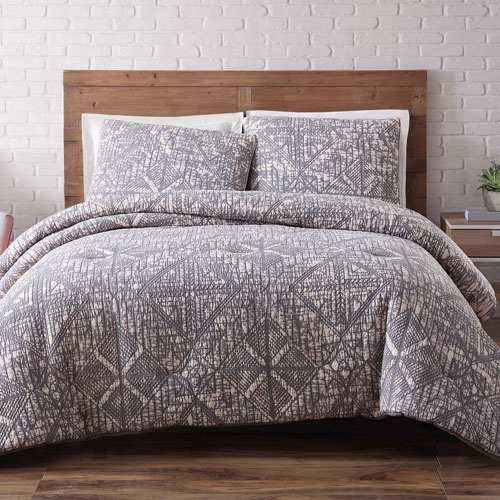 Brooklyn Loom Sand Washed Cotton King Duvet Set in Frost Gray