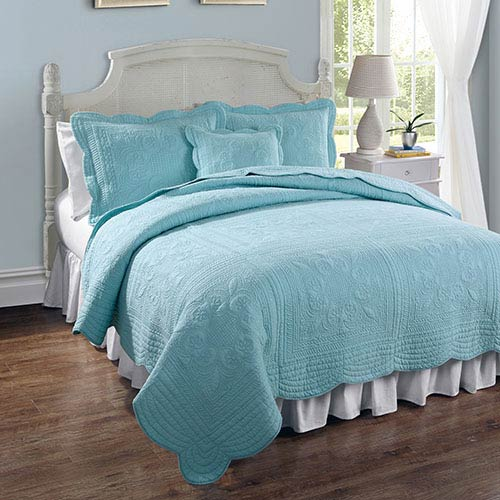 Pem America French Tile Canal Blue Twin Quilt