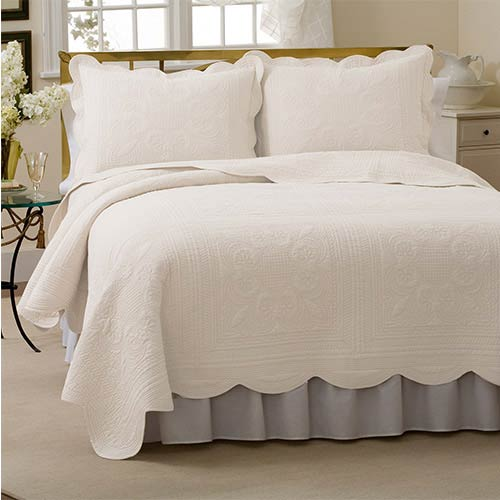 Pem America French Tile White Twin Quilt