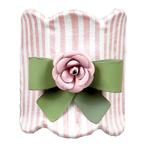 Pink and White Striped with Green Bow Magnet Nightlight
