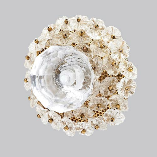 Jubilee Collection Clear Flower Beads - Glass Center Knob
