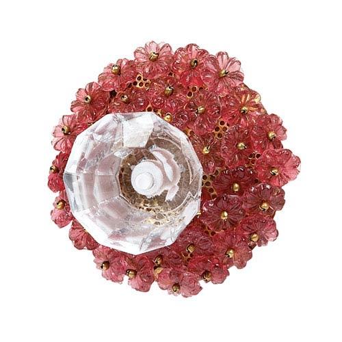Pink Flower Beads - Glass Center Knob