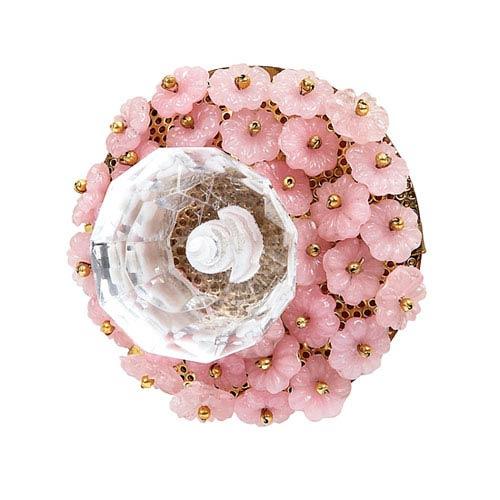 Opaque Pink Flower Beads - Glass Center Knob