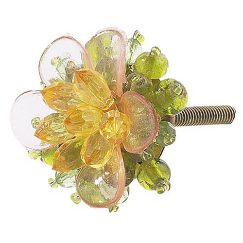 Beaded Flower Green Pink Amber Knob