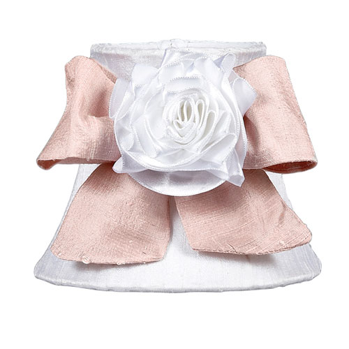 Jubilee Collection White Chandelier Shade with Pink Box and White Ribbon Rose Magnet