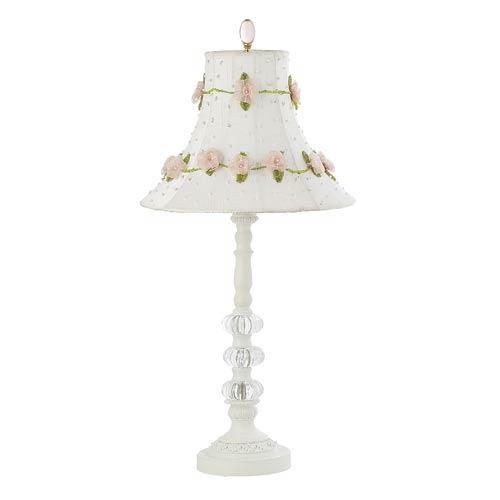 White Three Glass Ball Medium Table Lamp with Medium Roses on Vine White Shade