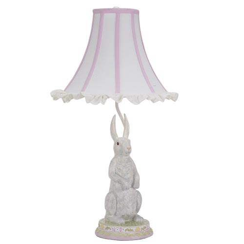 Standing Bunny Multi Large Table Lamp with Large White Ruffle with Pink Trim Shade