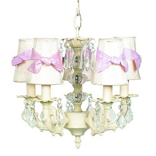 Stacked Glass Ball Ivory Five-Light Mini Chandelier with Plain Ivory with Sash Chandelier Shades