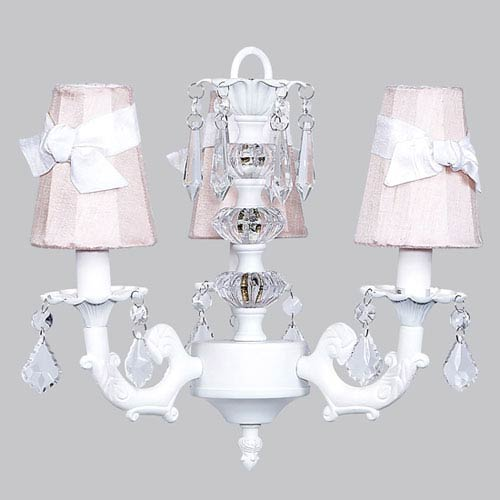 Jubilee Collection White Three-Light Stacked Glass Ball Mini Chandelier with Pink and White Sash Shades