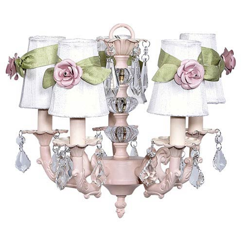Jubilee Collection Pink Five-Light Stacked Glass Ball Chandelier with White and Green Sash Shades