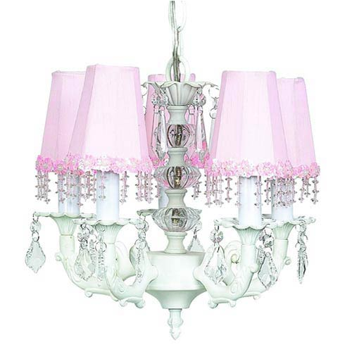 Stacked Glass Ball White Five-Light Mini Chandelier with Pearl Flower Pink Chandelier Shades