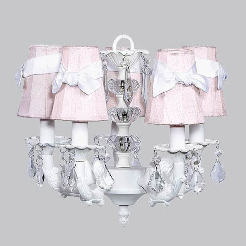 Jubilee Collection White Five-Light Stacked Glass Ball Chandelier with Pink and White Sash Shades
