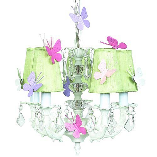 Stacked Glass Ball White Five-Light Mini Chandelier with Plain Green with Magnets Chandelier Shades