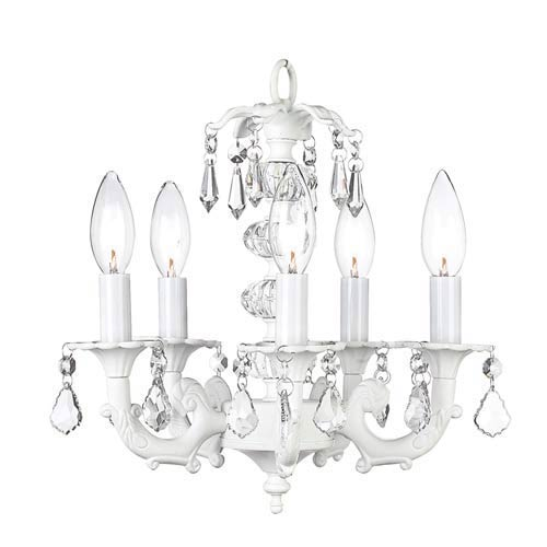 Stacked Glass Ball White Five-Light Mini Chandelier