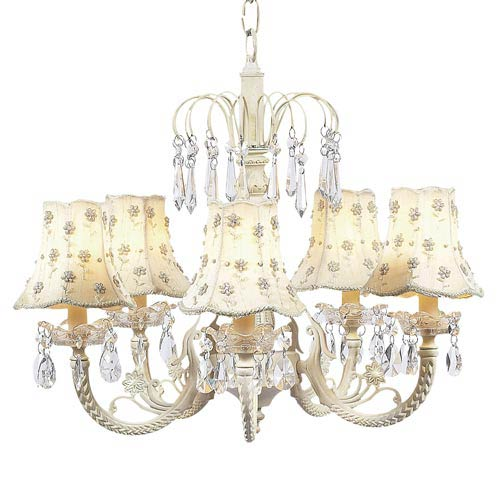 Waterfall Ivory Five-Light Chandelier with Daisy Pearl Ivory Chandelier Shades