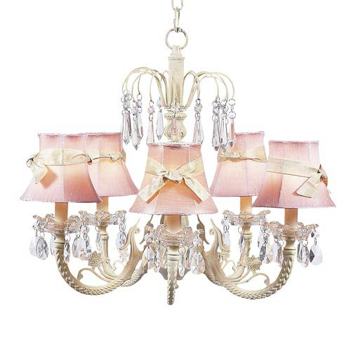 Waterfall Ivory Five-Light Chandelier with Plain Pink with Sash Chandelier Shades