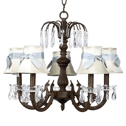 Waterfall Mocha Five-Light Chandelier with Blue Sash Ivory Shades
