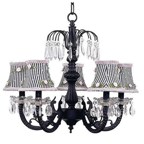 Jubilee Collection Waterfall Black Five Light Chandelier With Check And Pink Rosebud Shades