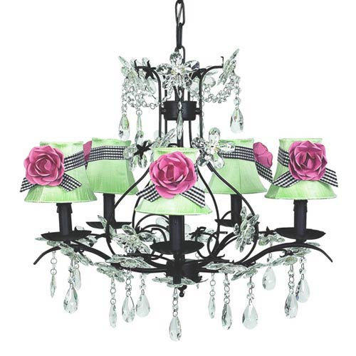 Cinderella Black Five-Light Chandelier with Plain Modern Green with Sash and Magnets Chandelier Shades