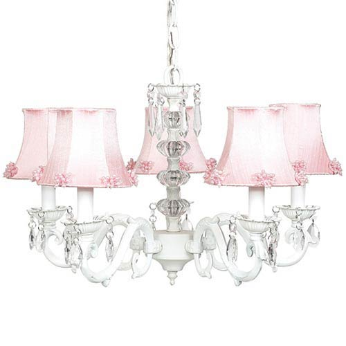 Glass pink chandelier bellacor jubilee collection glass turret white five light mini chandelier with pearl burst pink chandelier shades mozeypictures Images