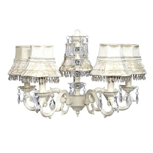 Jubilee Collection Turret Ivory Five-Light Chandelier with Ivory Skirt Dangle Shades
