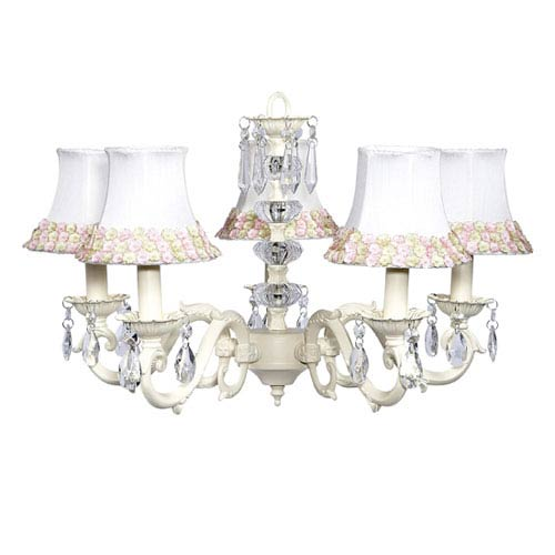 Jubilee Collection Turret Ivory Five-Light Chandelier with Pink and Green Flower Shades