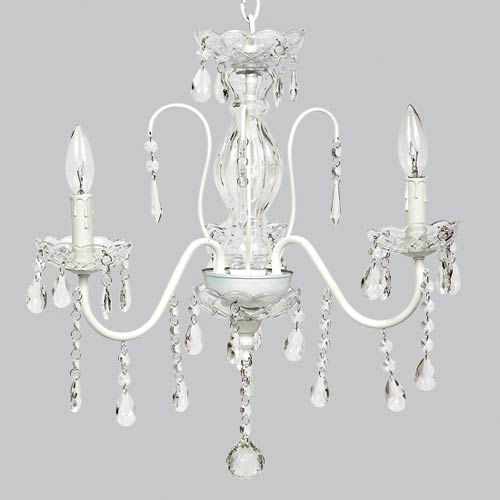 Jewel Glass White Three Light Mini Chandelier