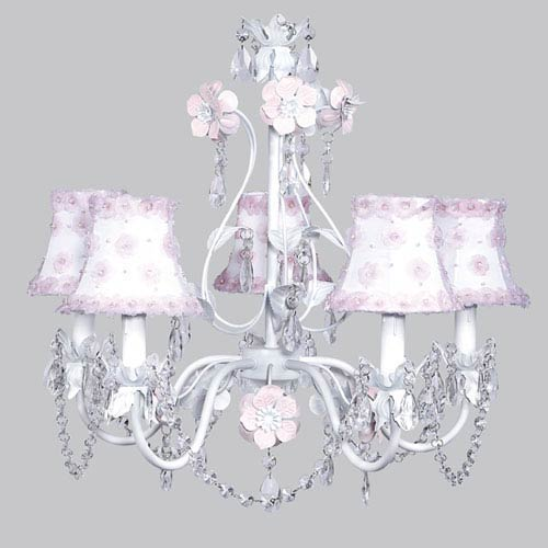 Flower Garden Pink and White Five-Light Chandelier with White and Pink Petal Shades