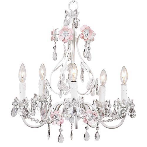 Flower Garden Pink and White Five-Light Mini Chandelier